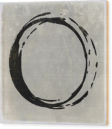 Enso No. 107 Black On Taupe Wood Print by Julie Niemela