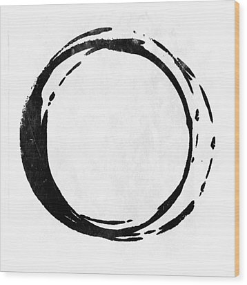 Enso No. 107 Black On White Wood Print by Julie Niemela