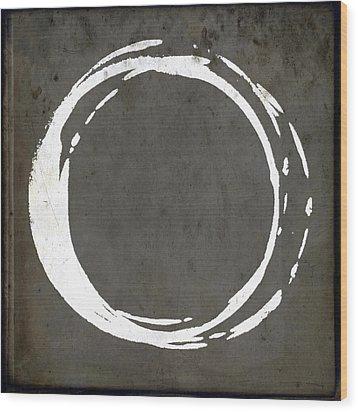 Enso No. 107 Gray Brown Wood Print by Julie Niemela
