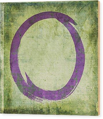Enso No. 108 Purple On Green Wood Print