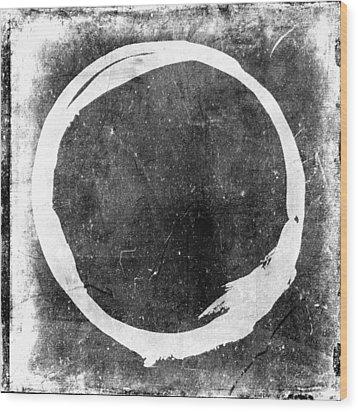 Enso No. 109 White On Black Wood Print