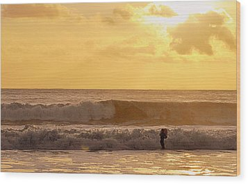 Wood Print featuring the photograph Enter The Surfer by AJ  Schibig