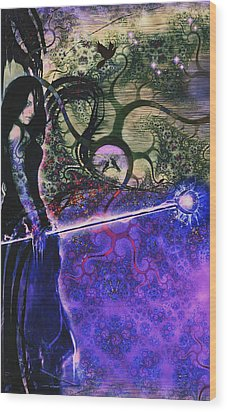 Entering In The Spirit Of The Night Wood Print by Linda Sannuti