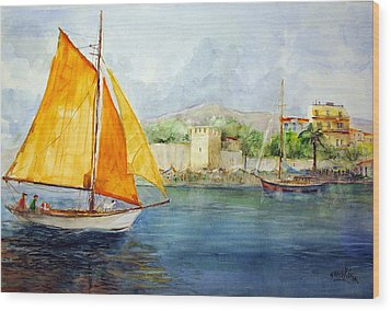 Entering The Port - Foca Izmir Wood Print by Faruk Koksal