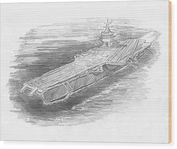 Enterprise Aircraft Carrier Wood Print by Michael Penny