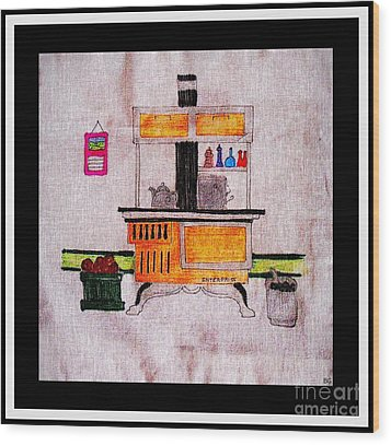 Enterprise Woodstove - Yellow Wood Print by Barbara Griffin