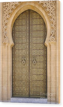 Entrance Door To The Mausoleum Mohammed V Rabat Morocco Wood Print by Ralph A  Ledergerber-Photography