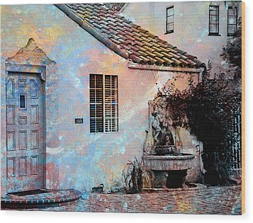 Wood Print featuring the photograph Entrance To Stucco Spanish Style House by John Fish