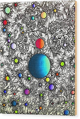 Wood Print featuring the drawing Entropy Color Variation 3 by Devin  Cogger