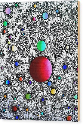 Wood Print featuring the drawing Entropy Color Variation 6 by Devin  Cogger