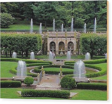 Entry Fountains At Longwood Gardens Wood Print by Kim Bemis