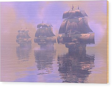 Enveloped By Fog Wood Print by Claude McCoy