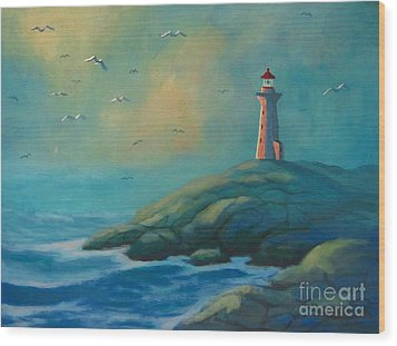 Envisioning Peggys Cove Lighthouse Wood Print by John Malone
