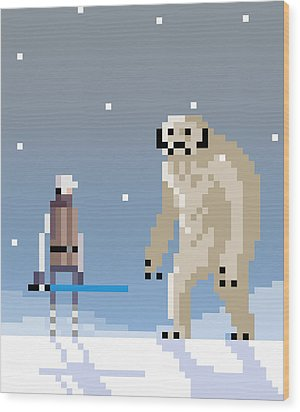 Epic Battle In The Snow Wood Print by Michael Myers