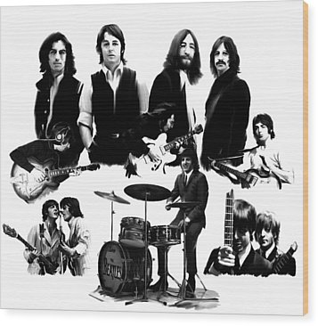 Epic The Beatles Wood Print by Iconic Images Art Gallery David Pucciarelli