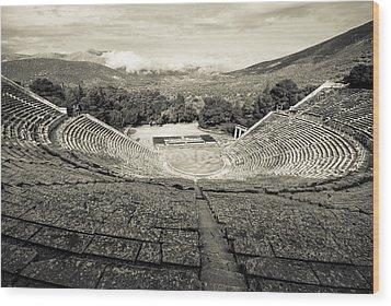 Epidavros Theatre Wood Print by David Waldo