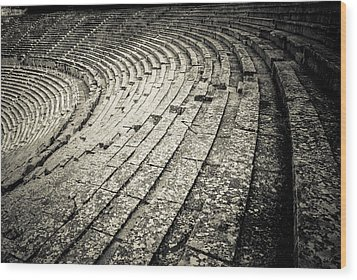 Epidavros Theatre Seats Wood Print by David Waldo