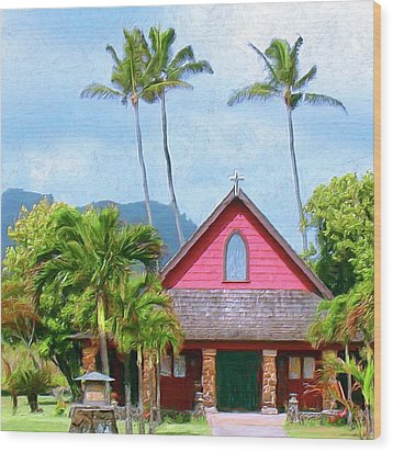 Episcopal Church In Kapaa Wood Print by Dominic Piperata