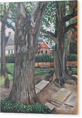 Episcopal Church Yard New Bern Wood Print