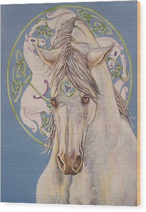 Epona The Great Mare Wood Print by Beth Clark-McDonal