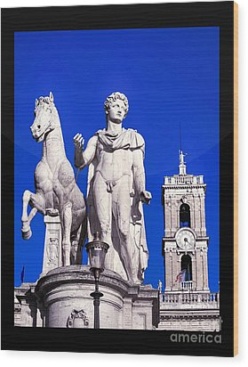 Equestrian Statue At Capitoline Hill Wood Print by Stefano Senise