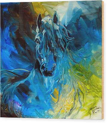 Equus Blue Ghost Wood Print by Marcia Baldwin