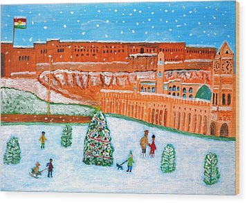 Wood Print featuring the painting Erbil Citadel Christmas  by Magdalena Frohnsdorff