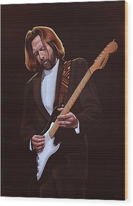 Eric Clapton Painting Wood Print by Paul Meijering