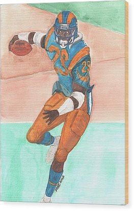 Eric Dickerson Los Angeles Rams Wood Print by Paul McRae
