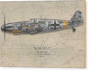 Erich Hartmann Messerschmitt Bf-109 - Map Background Wood Print by Craig Tinder