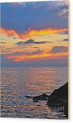 Wood Print featuring the photograph Erie Sunset by Jay Nodianos