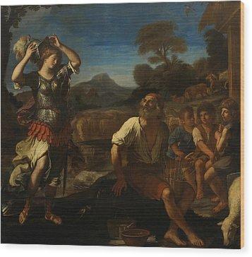 Erminia And The Shepherds Wood Print by Giovanni Francesco Barbieri