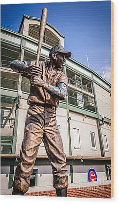 Ernie Banks Statue At Wrigley Field  Wood Print by Paul Velgos