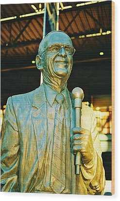 Ernie Harwell Statue At The Copa Wood Print