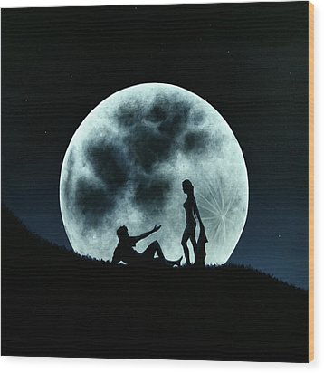 Wood Print featuring the painting Eros Under A Full Moon Rising by Ric Nagualero