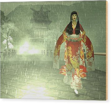 Escaping Her Feudal Lord Wood Print