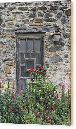 Espada Doorway With Flowers Wood Print by Mary Bedy