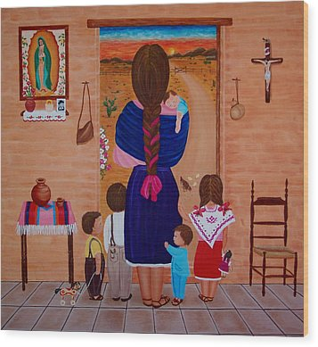Wood Print featuring the painting Esperando A Papa by Evangelina Portillo