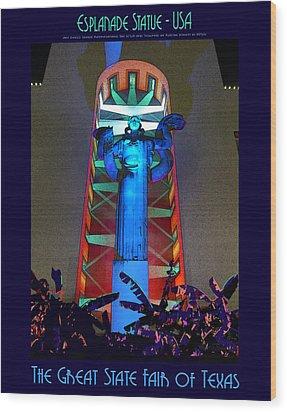 Esplanade Statue - U S A Wood Print
