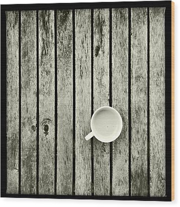 Espresso On A Wooden Table Wood Print