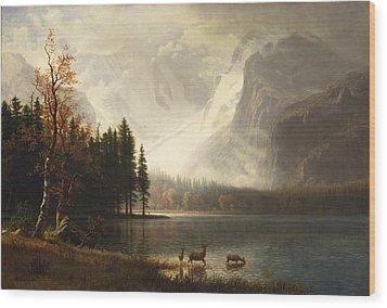 Estes Park Colorado Whytes Lake Wood Print by Albert Bierstadt