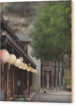 Wood Print featuring the painting Estes Park Downtown by Patricia Lintner