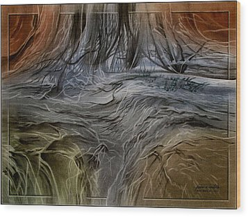 Wood Print featuring the pastel Estesparkscape 2010 by Glenn Bautista