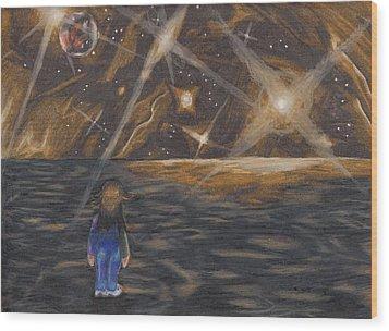 Etestska Lying On Pluto Wood Print by Keith Gruis