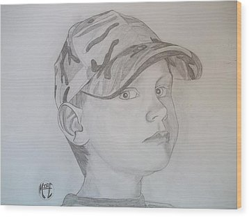 Wood Print featuring the drawing Ethan Age 6 by Justin Moore
