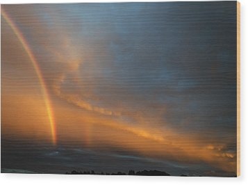 Ethereal Clouds And Rainbow Wood Print by Greg Reed
