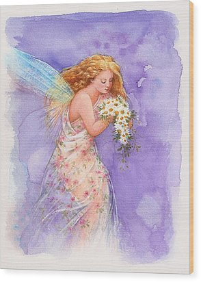Ethereal Daisy Flower Fairy Wood Print by Judith Cheng