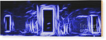 Ethereal Doorways Blue Wood Print