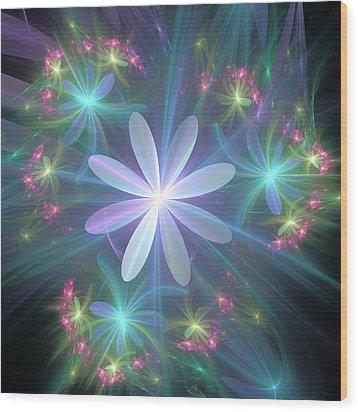 Wood Print featuring the digital art Ethereal Flower In Blossom by Svetlana Nikolova