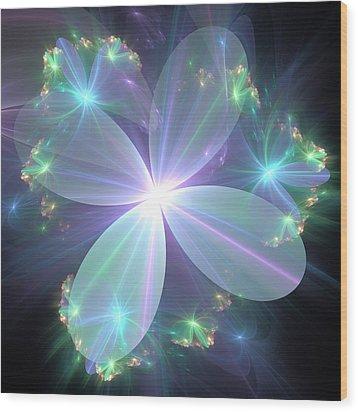 Wood Print featuring the digital art Ethereal Flower In Blue by Svetlana Nikolova